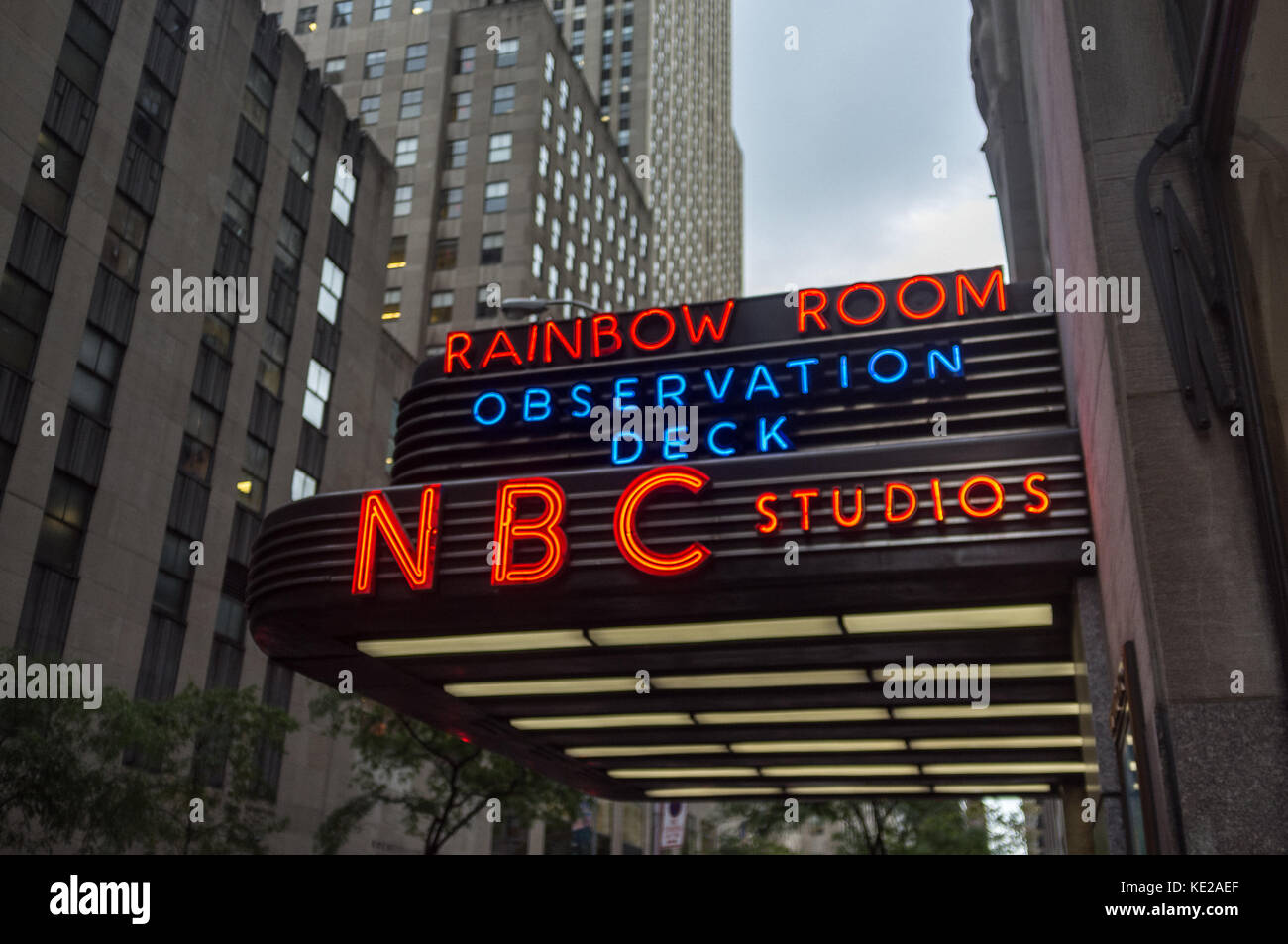 Sign indicating the entrance to the Observation Deck at the NBC Studios at the Rockerfeller Center, New York City. - Stock Image
