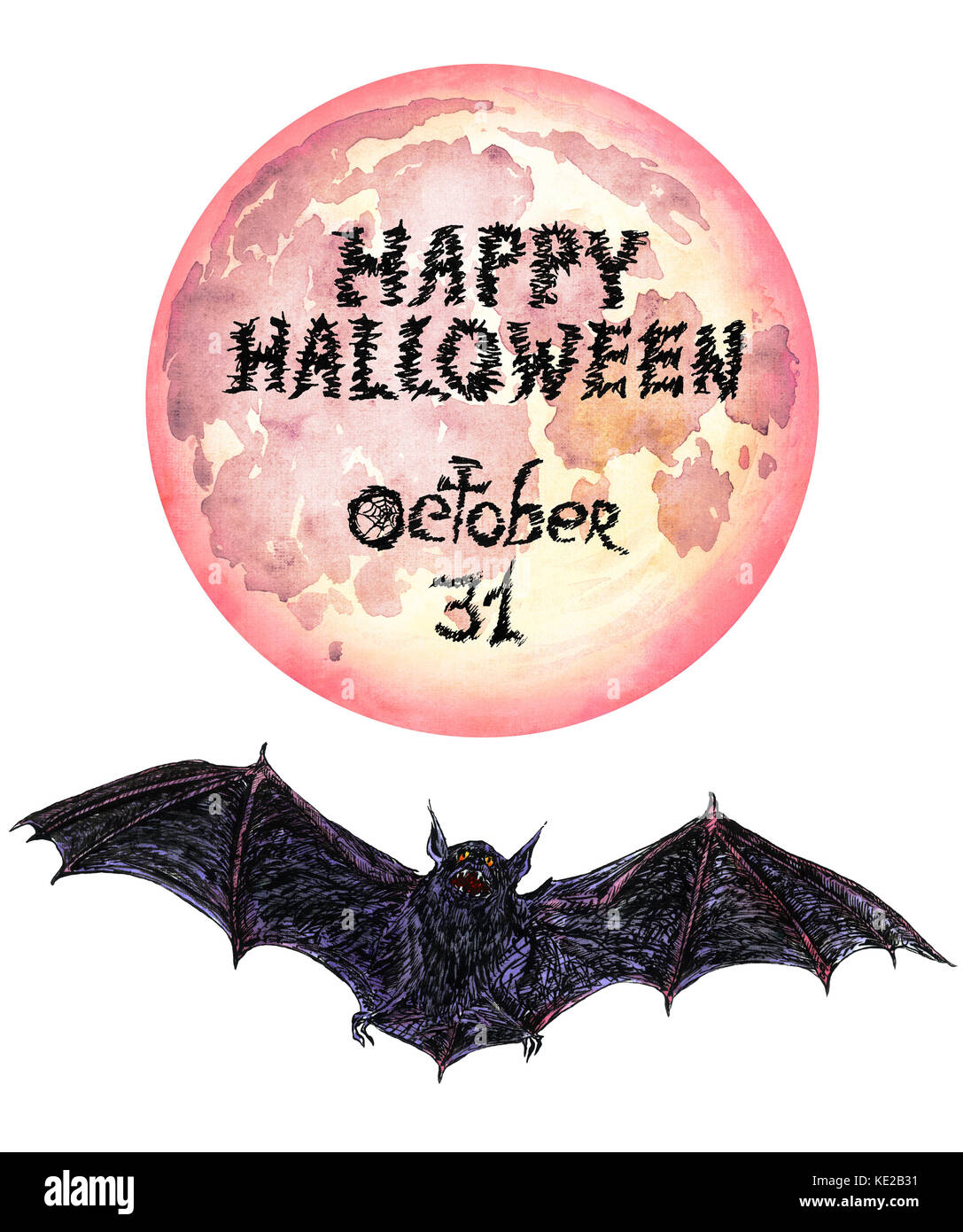 Dark scary bat flying, full moon (red), Happy Halloween, Hand Painted Watercolor Illustration Isolated - Stock Image