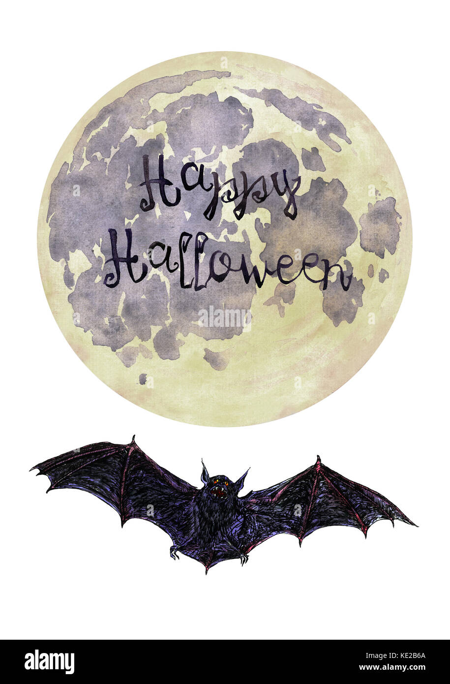 Dark scary bat flying, full moon (yellow), Happy Halloween, Hand Painted Watercolor Illustration Isolated - Stock Image