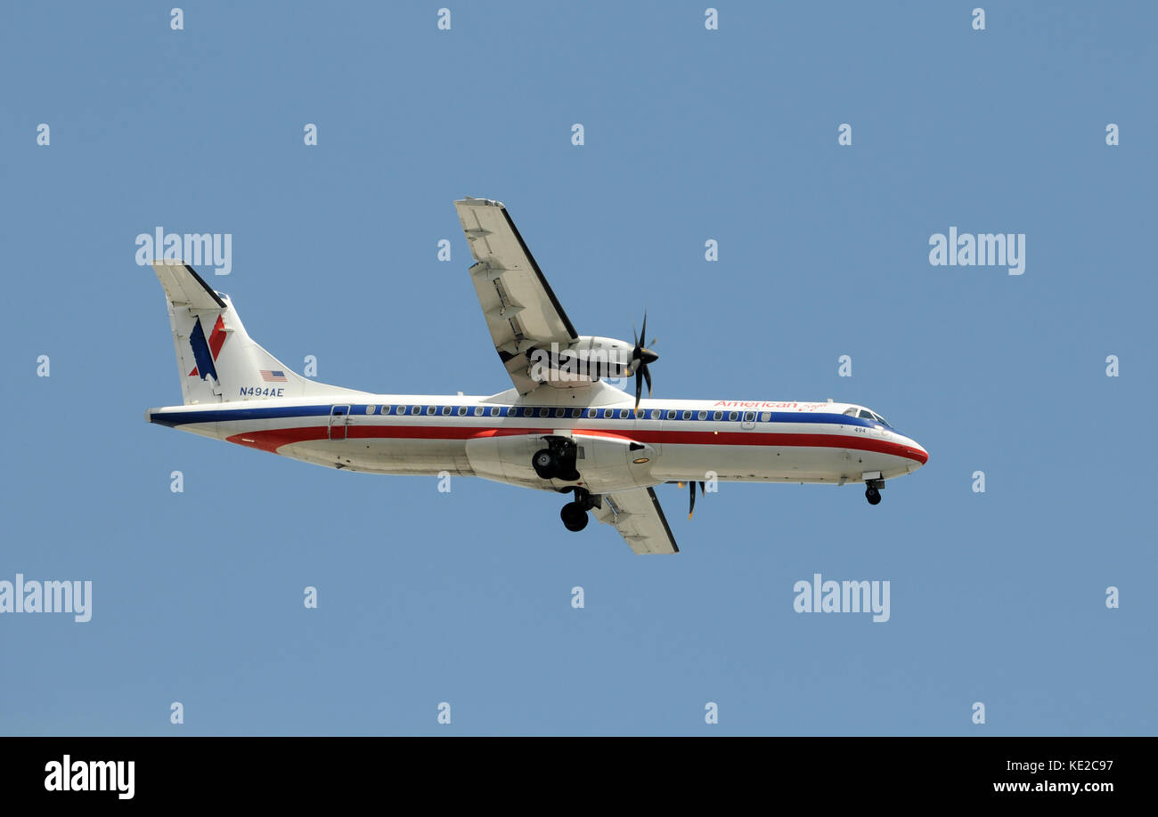 American Eagle used ATR-72 turboprops for regional service - Stock Image