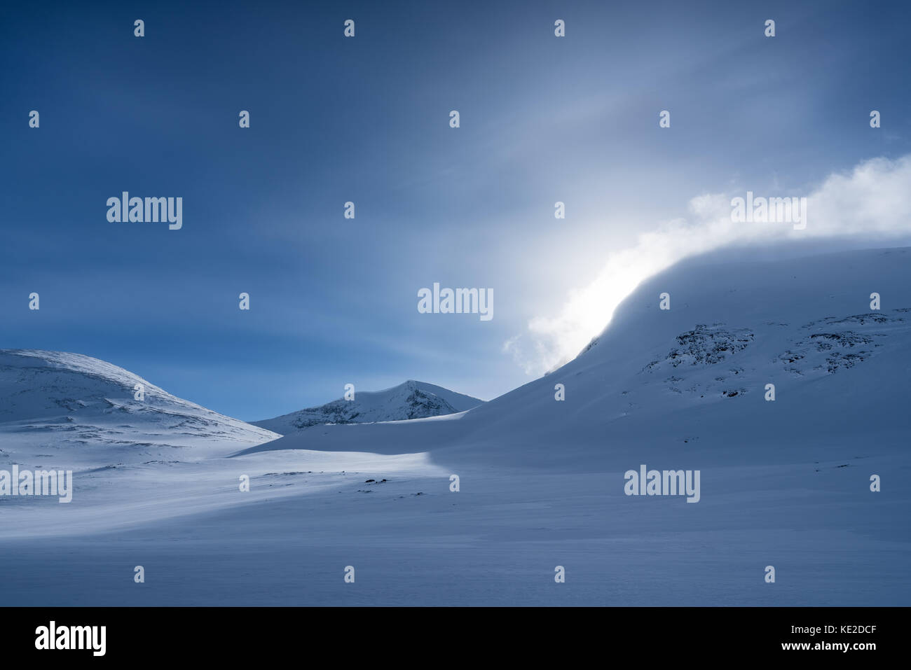Ski touring in the Kebnekaise massive mountains, Sweden, Europe - Stock Image