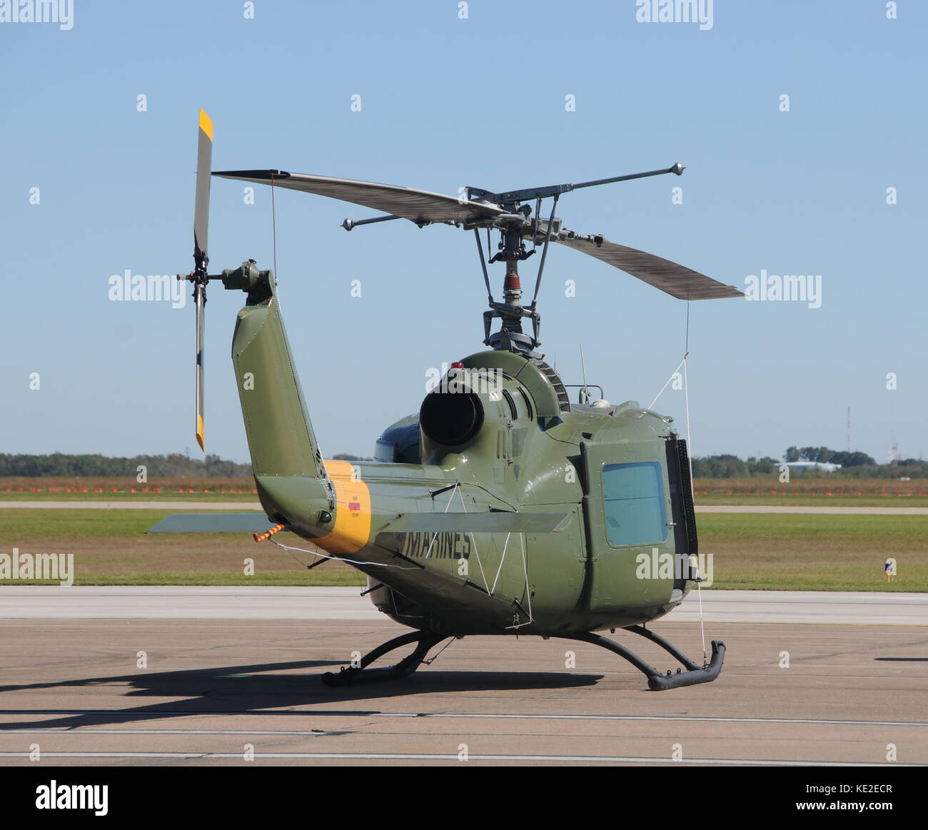 Vietnam War era military helicopter on the ground Stock