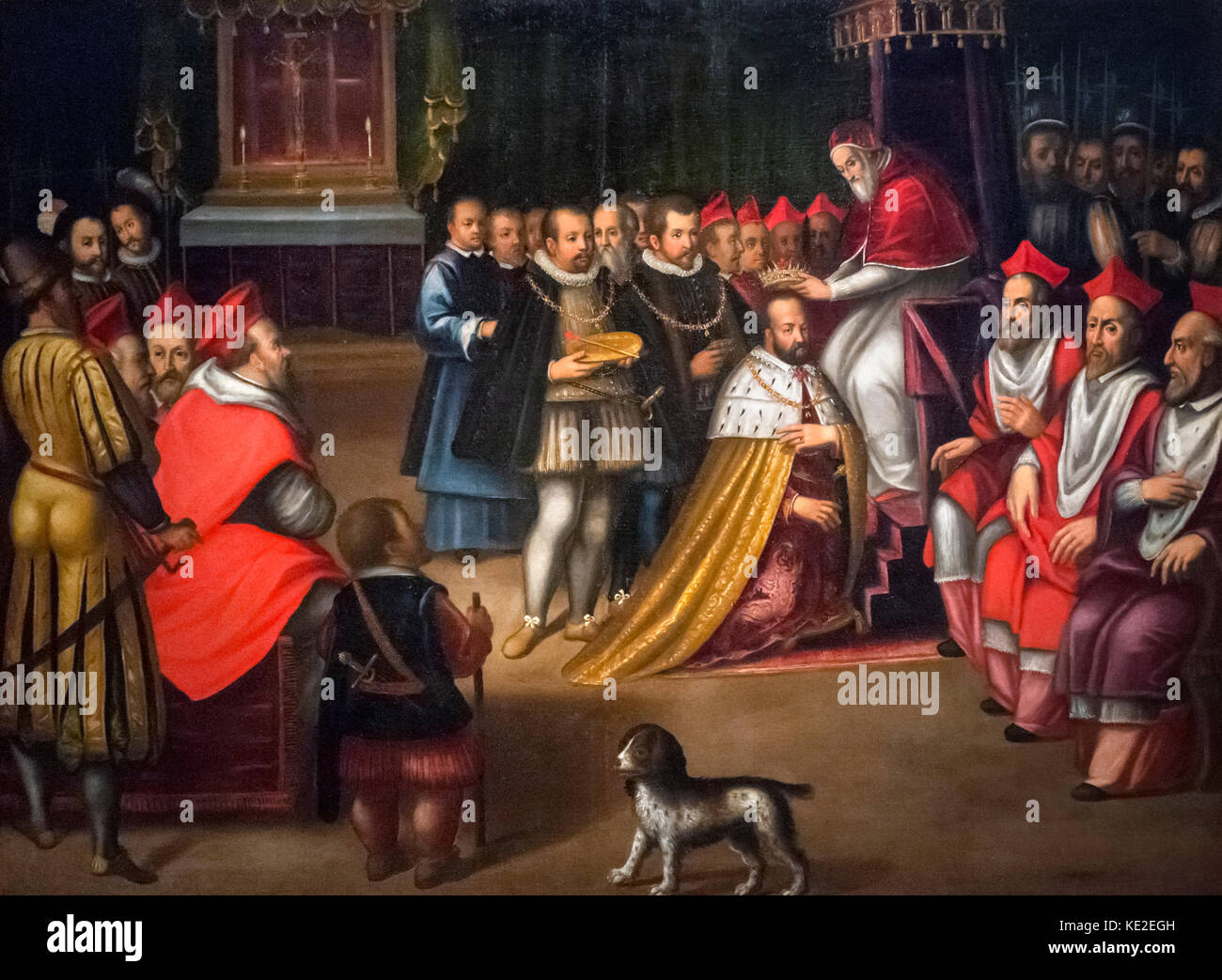 Pope Pius V Crowns Cosimo I Grand Duke of Tuscany on March 5th 1569 by unknown artist, 16th century. Painting is - Stock Image