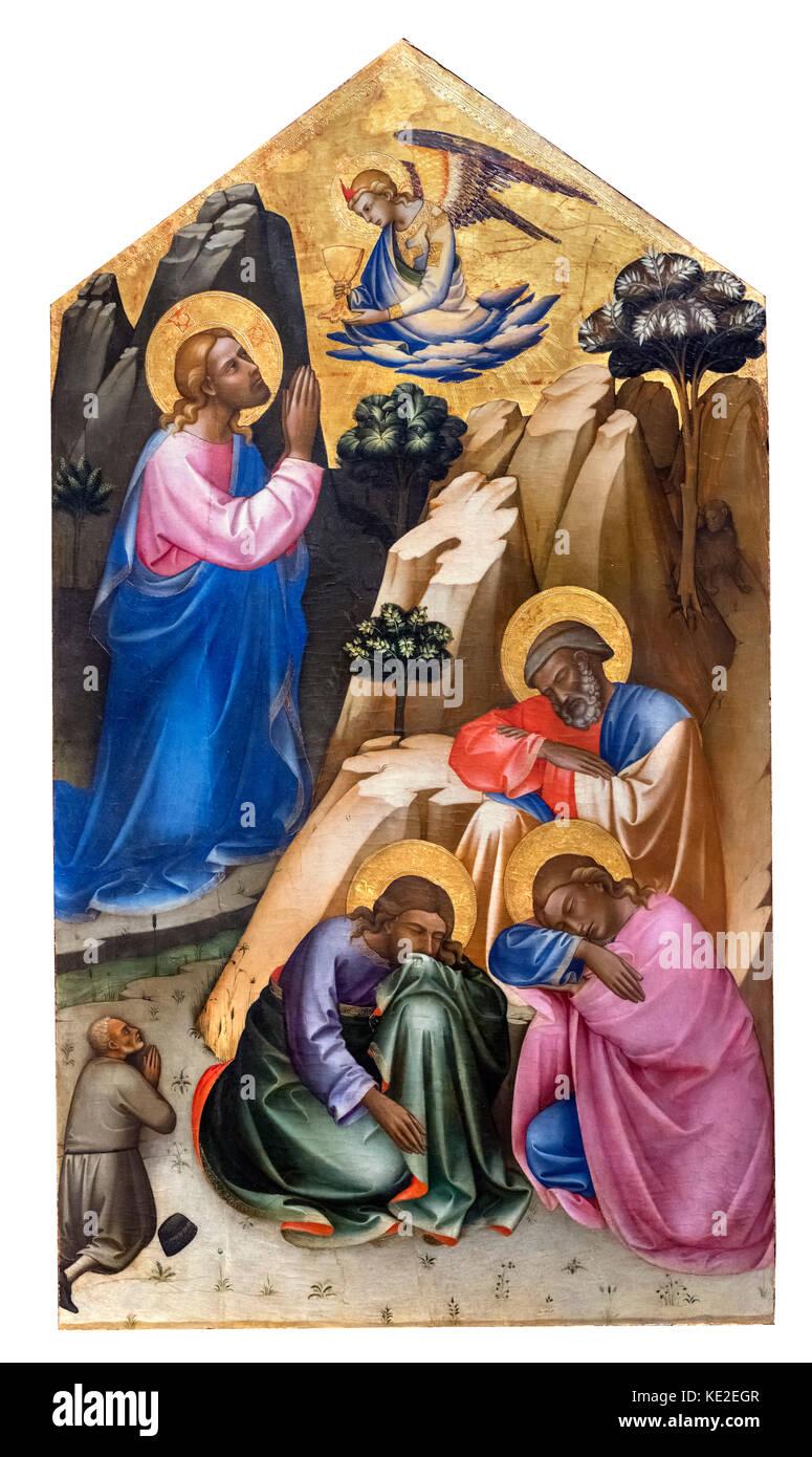 Christ Praying in the Orange Grove with Apostles Peter, John and James by Lorenzo Monaco (c.1370-1425), tempera - Stock Image