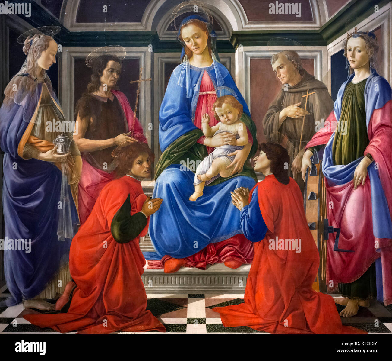 Madonna and Child with Six Saints (Sant'Ambrogio Altarpiece) by Sandro Botticelli (Alessandro di Mariano di - Stock Image