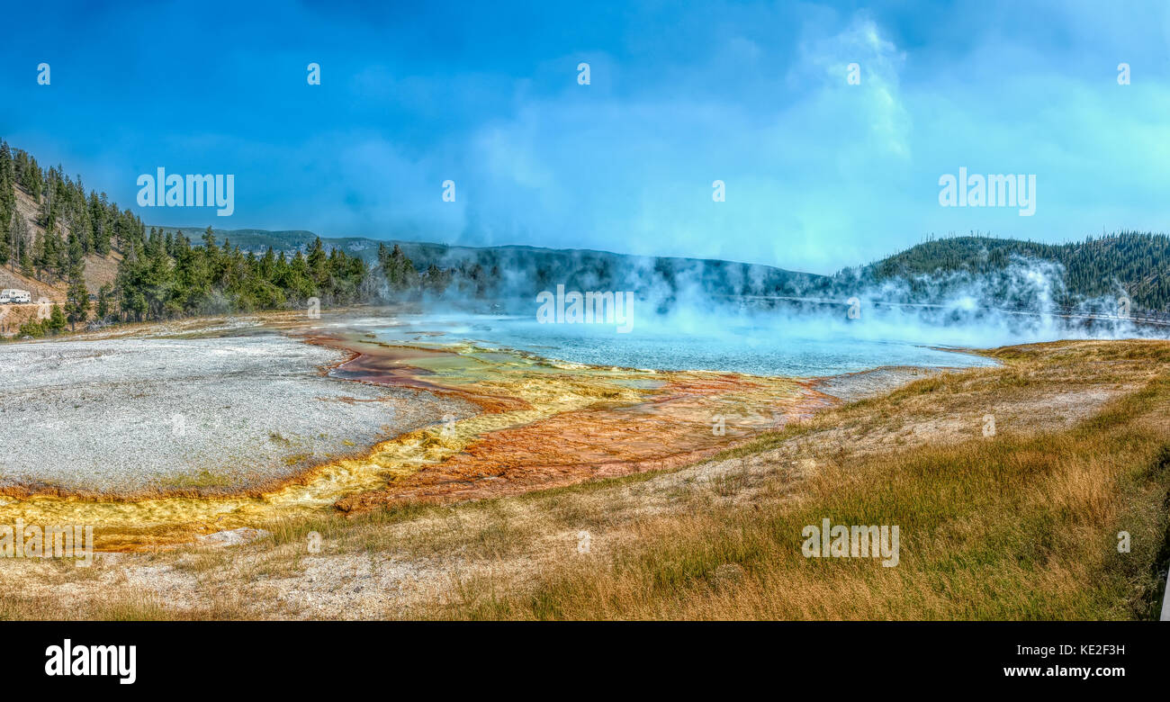 August 22, 2017 - Excelsior Geyser Crater in Yellowstone National Park - Stock Image