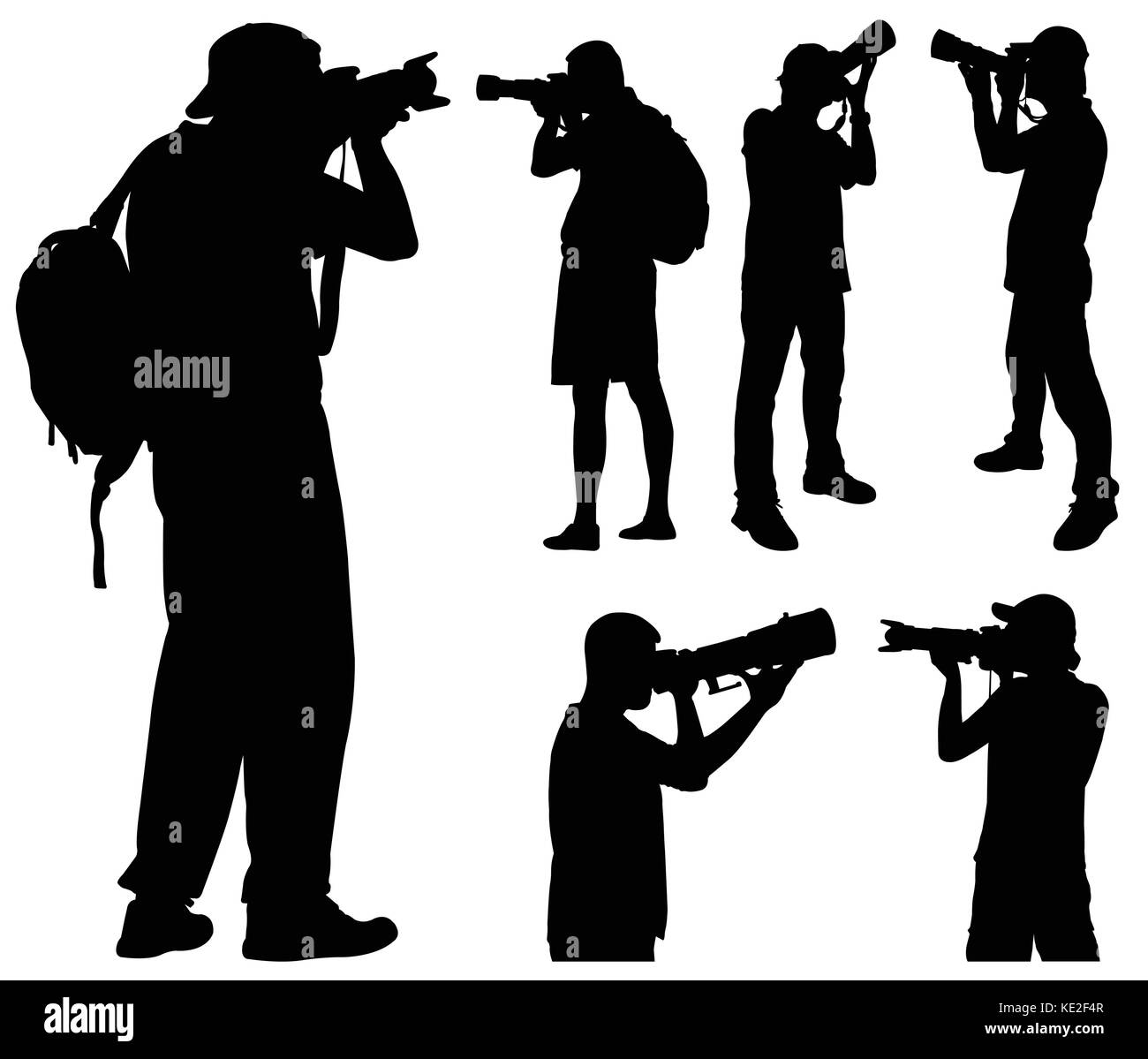 photographers with telephoto lens silhouettes - vector Stock Vector