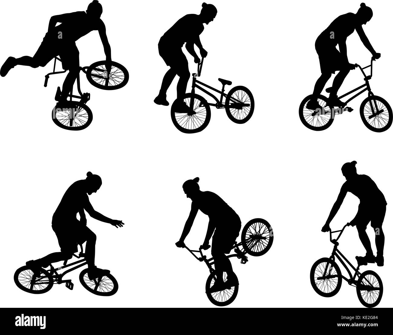 stunt bicyclist silhouettes - vector - Stock Vector