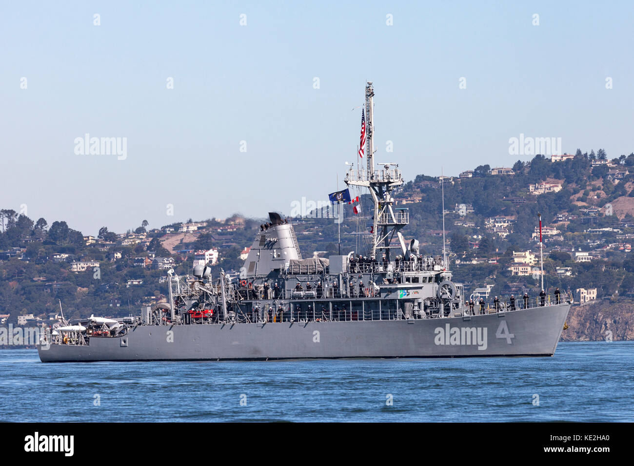 Avenger-class mine countermeasures ship USS Champion (MCM 4) on the water of San Francisco Bay. Stock Photo
