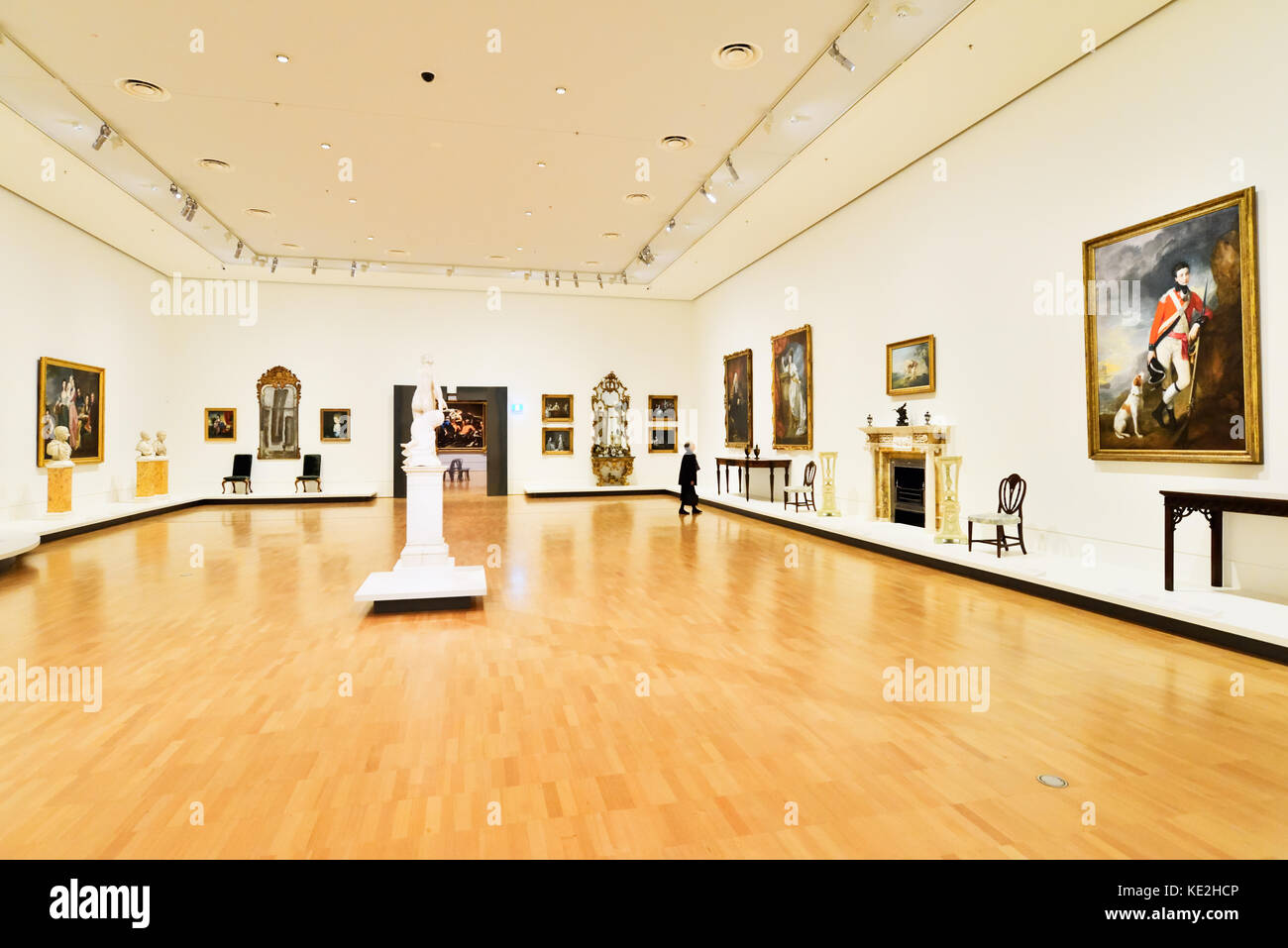 Australia Melbourne. National Gallery of  Victoria International. An exhibition space displaying Victorian era paintings,Stock Photo