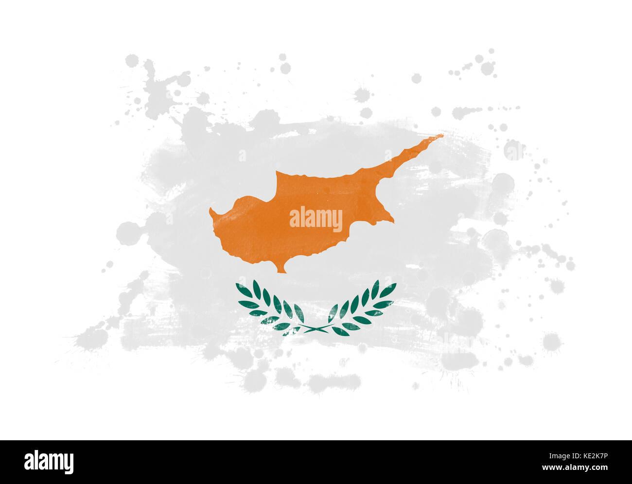 Cyprus flag grunge painted background - Stock Image