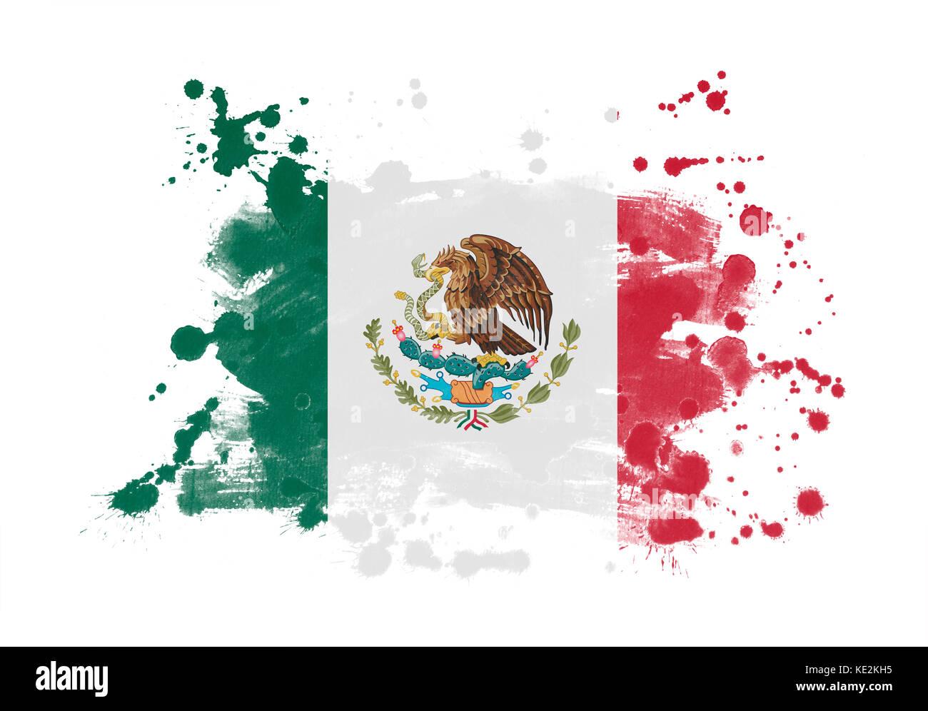 Mexico flag grunge painted background - Stock Image