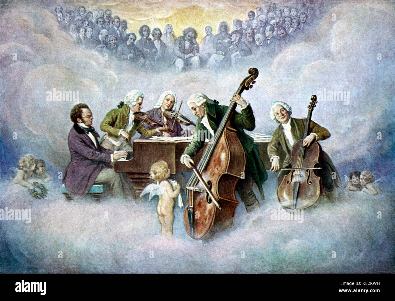 Schubert 's quintet playing in heaven with Mozart (violin), Bach (violin), Haydn (double bass) and Christoph - Stock Image
