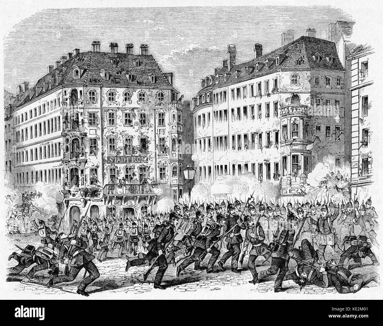 Dresden riots in 1848, engraving. The caption reads : 'Barricade in the grosse Frauen Strasse  on 6th May 1848', - Stock Image