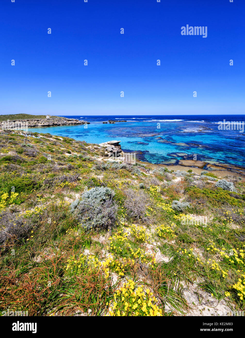 Beautiful clear waters at Salmon Point on Rottnest Island, Australia - Stock Image