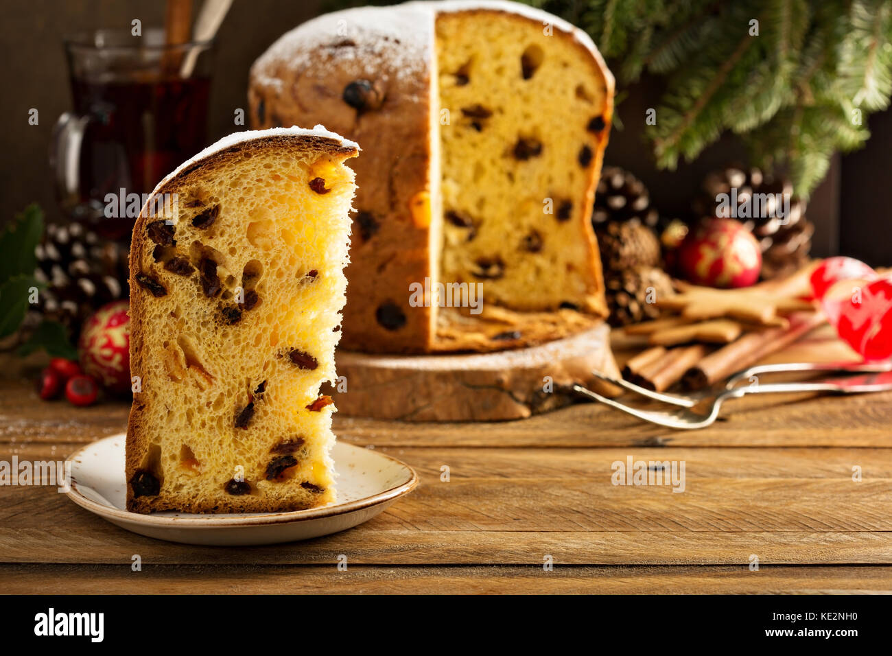Traditional Christmas panettone with raisins and dried fruits - Stock Image