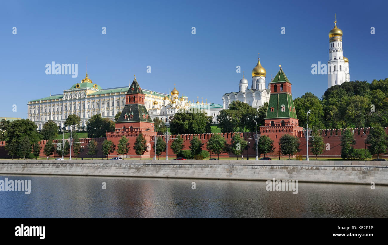 MOSCOW, RUSSIA - Unclouded Sky Above Moscow Kremlin in Early Summer Morning. Panorama of the architectural ensemble - Stock Image