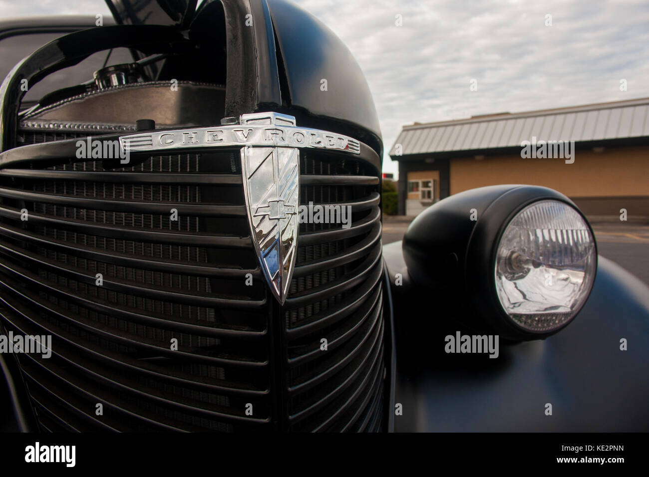 Detail Of Grill And Badge On 1939 Chevrolet Hot Rod At