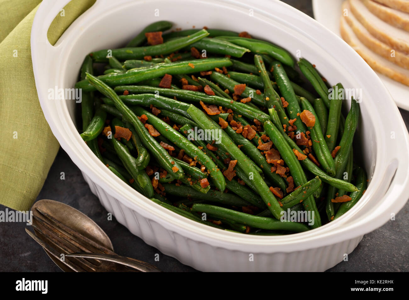 Green beans with bacon, side dish for Thanksgiving or Christmas dinner - Stock Image
