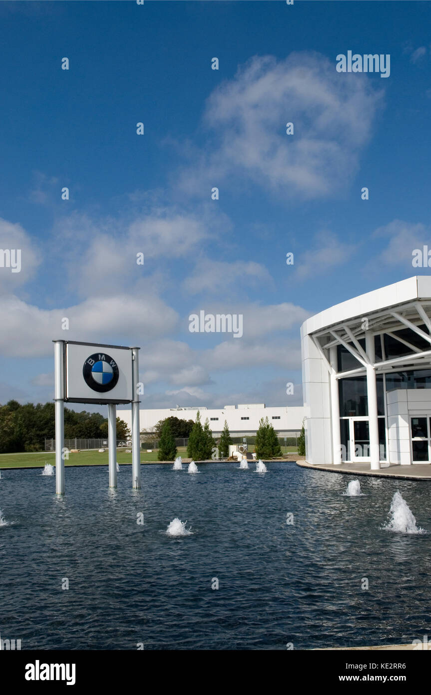 BMW manufacturing plant visitor's center and sign, Greer, South Carolina, USA. - Stock Image