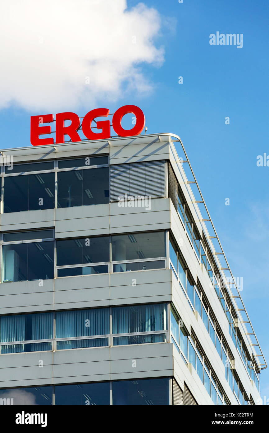 PRAGUE, CZECH REPUBLIC - OCTOBER 14: Ergo group from German Munich re insurance companies logo on building of the - Stock Image