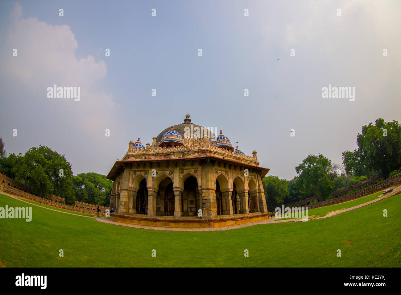 DELHI, INDIA - SEPTEMBER 19, 2017: Close up of a beautiful tomb of Isa Khan Niazi in humayum tomb complex, New Delhi, - Stock Image