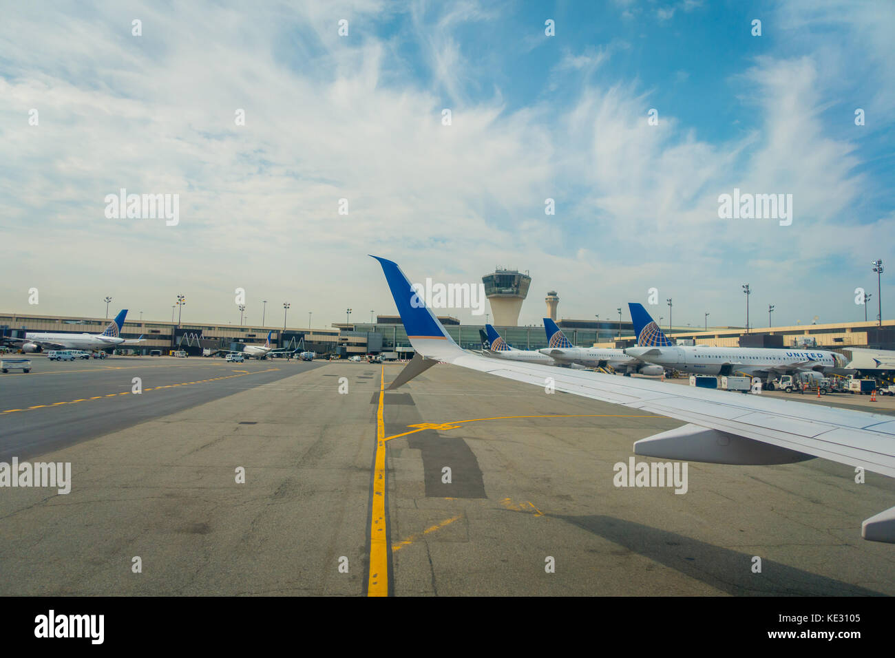 NEWARK, NJ - OCTOBER 16, 2017: United Airlines Logo on airplane tail wing at airport in Newark, New Jersey. United - Stock Image