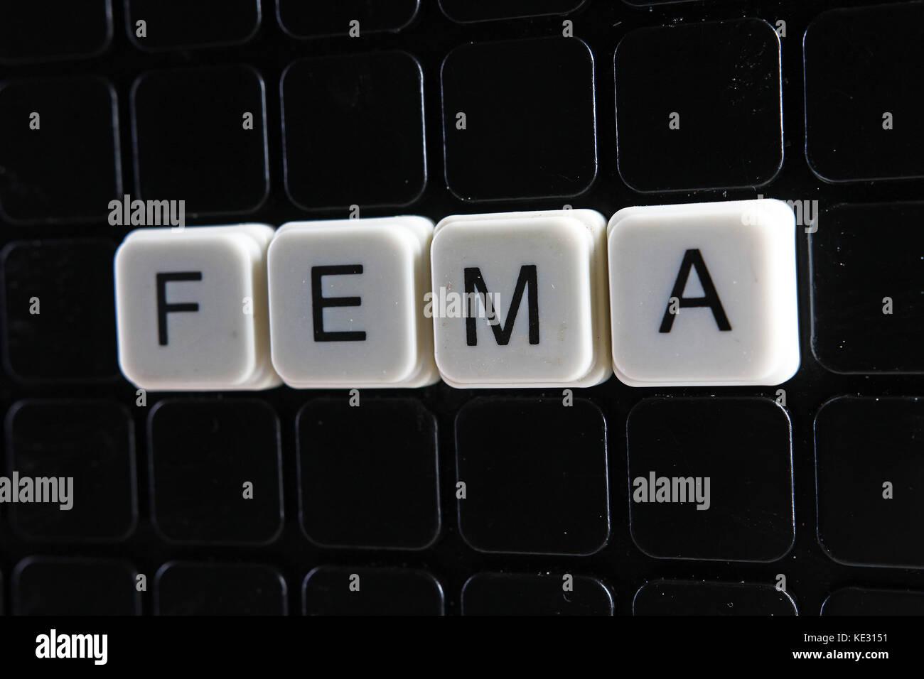 Fema text word photo illustration. - Stock Image