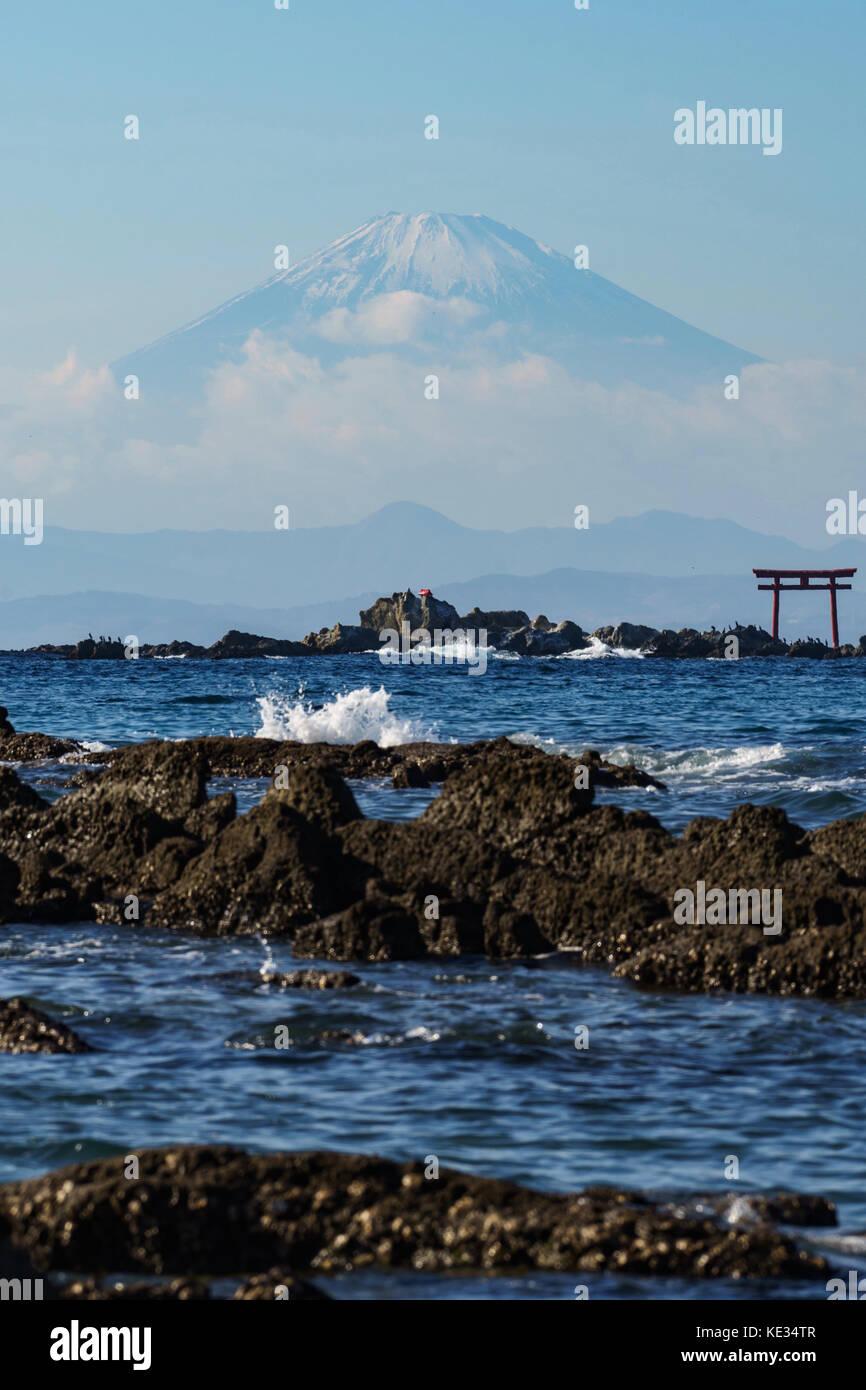 Mt. Fuji from Manase Seashore - Stock Image