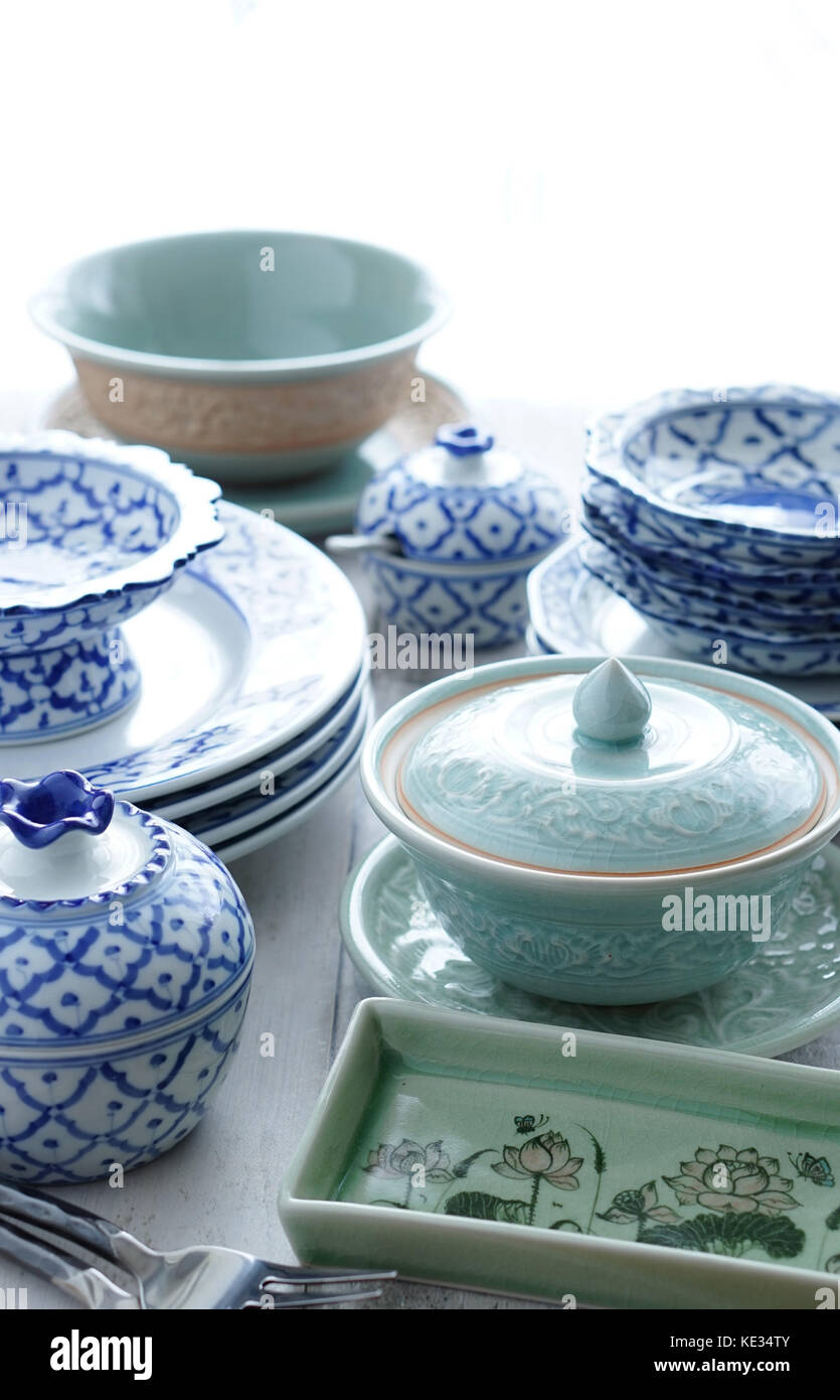 Blue and White Dishes Thai Celadon  sc 1 st  Alamy & Blue and White Dishes Thai Celadon Stock Photo: 163568187 - Alamy