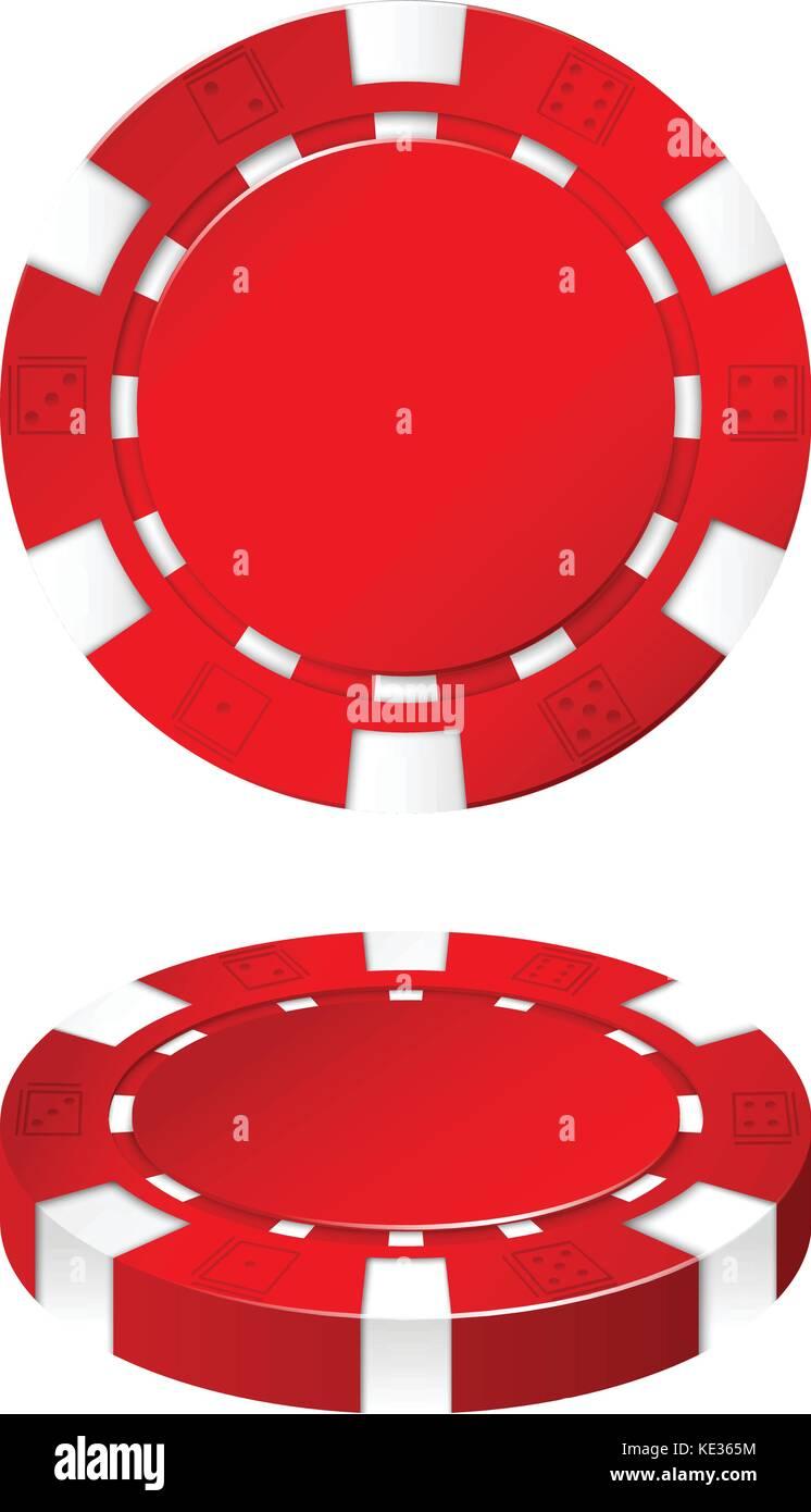 Red Casino Chip On White Illustration Stock Vector Image Art Alamy