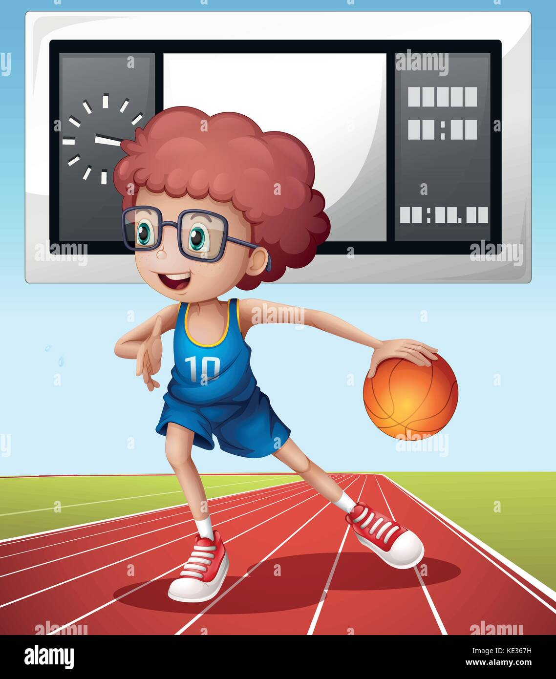 Boy playing basketball in the field illustration Stock Vector