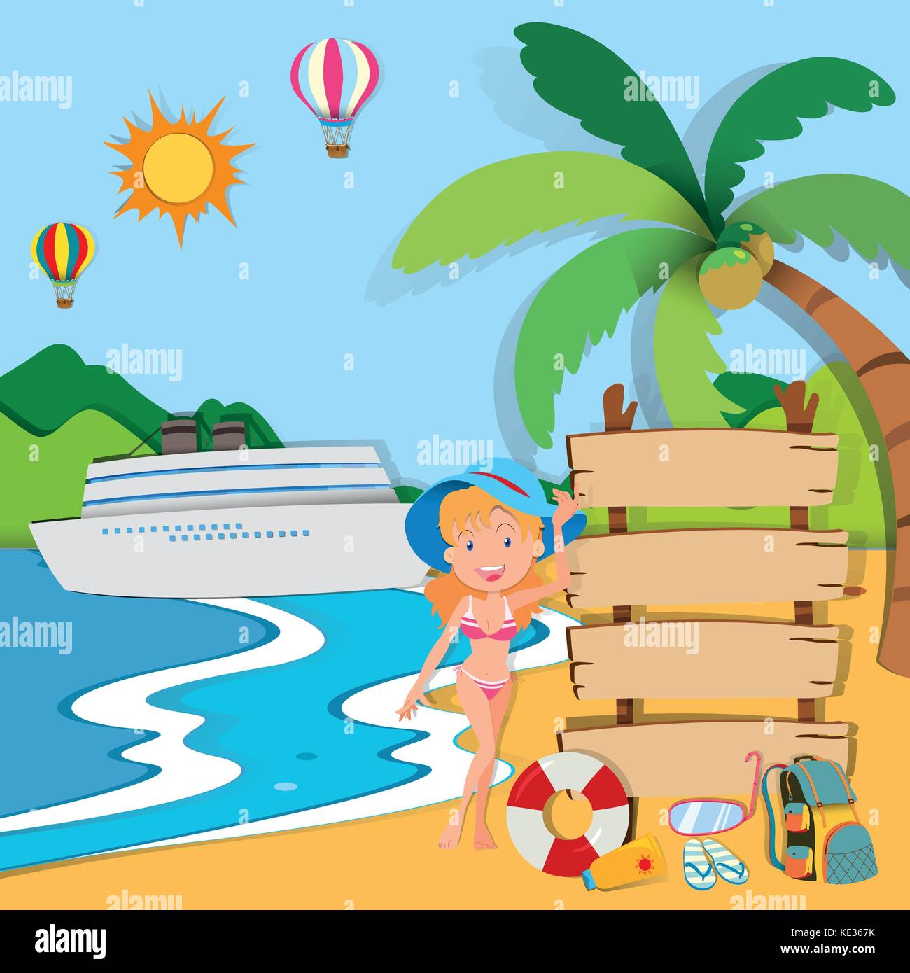Woman in bikini on the beach illustration - Stock Vector