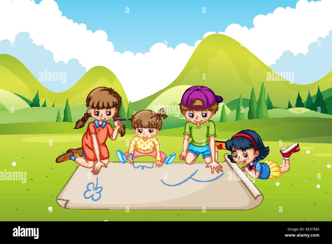 Children drawing on paper in the park illustration Stock Vector
