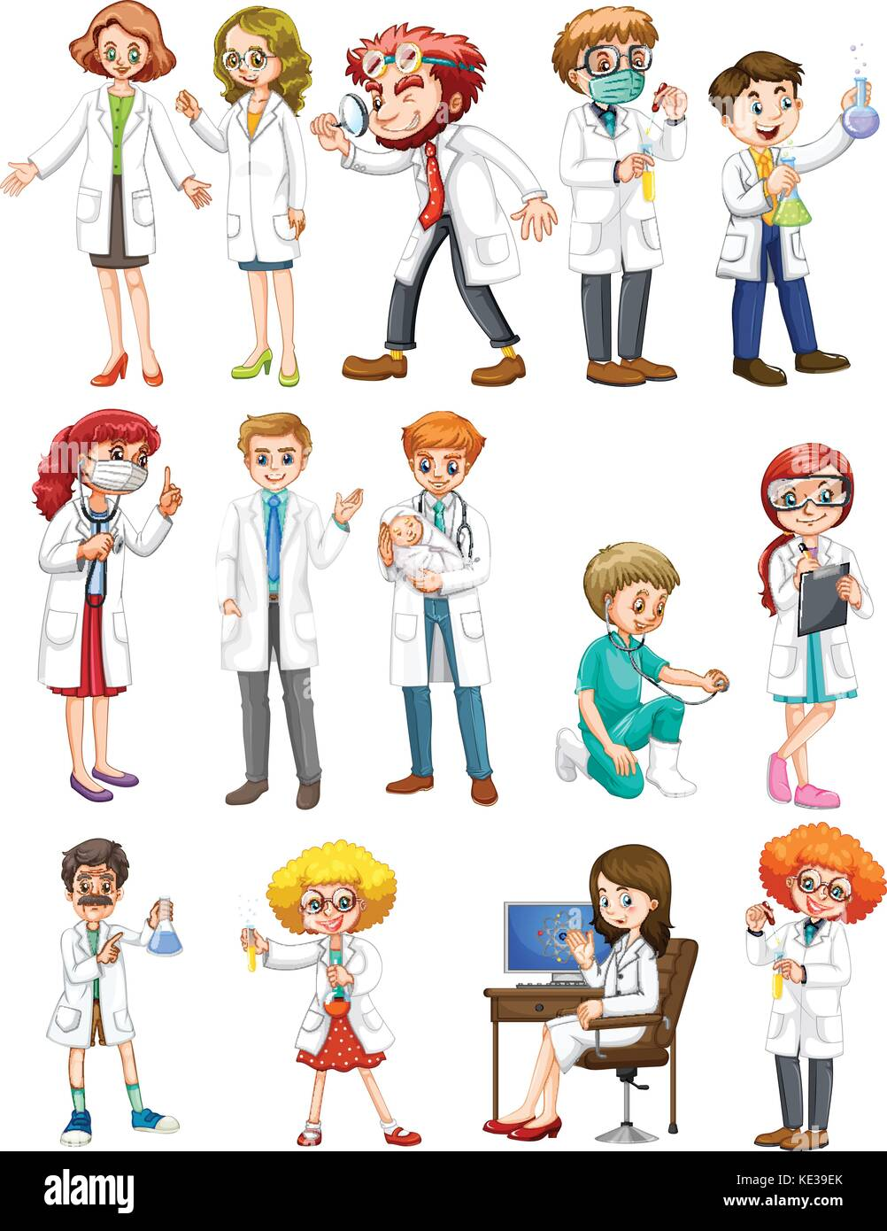Male and female scientists in white gown illustration - Stock Image