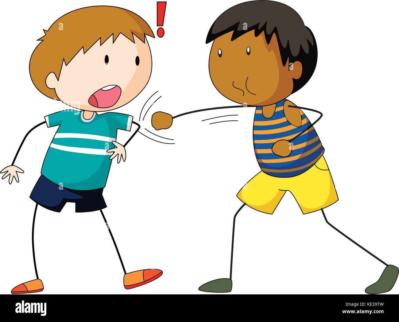 Two boys hitting and punching illustration - Stock Vector
