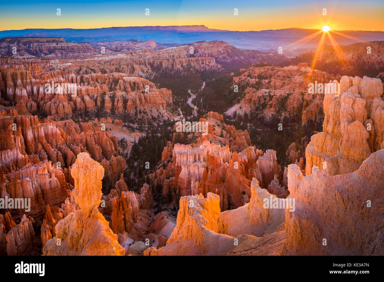 Bryce Canyon National Park, a sprawling reserve in southern Utah, is known for crimson-colored hoodoos, which are Stock Photo