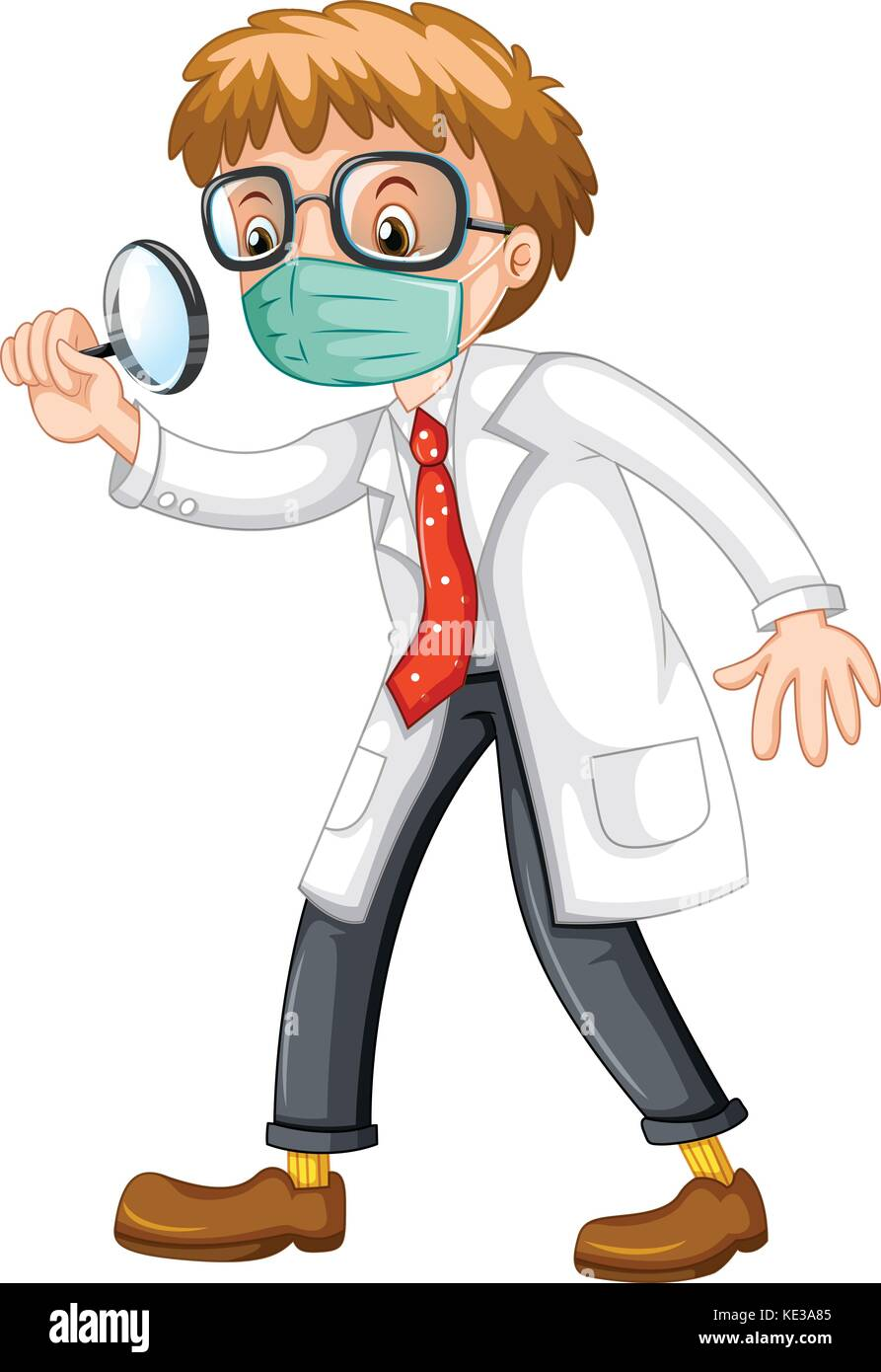 Doctor looking through magnifying glass illustration - Stock Vector