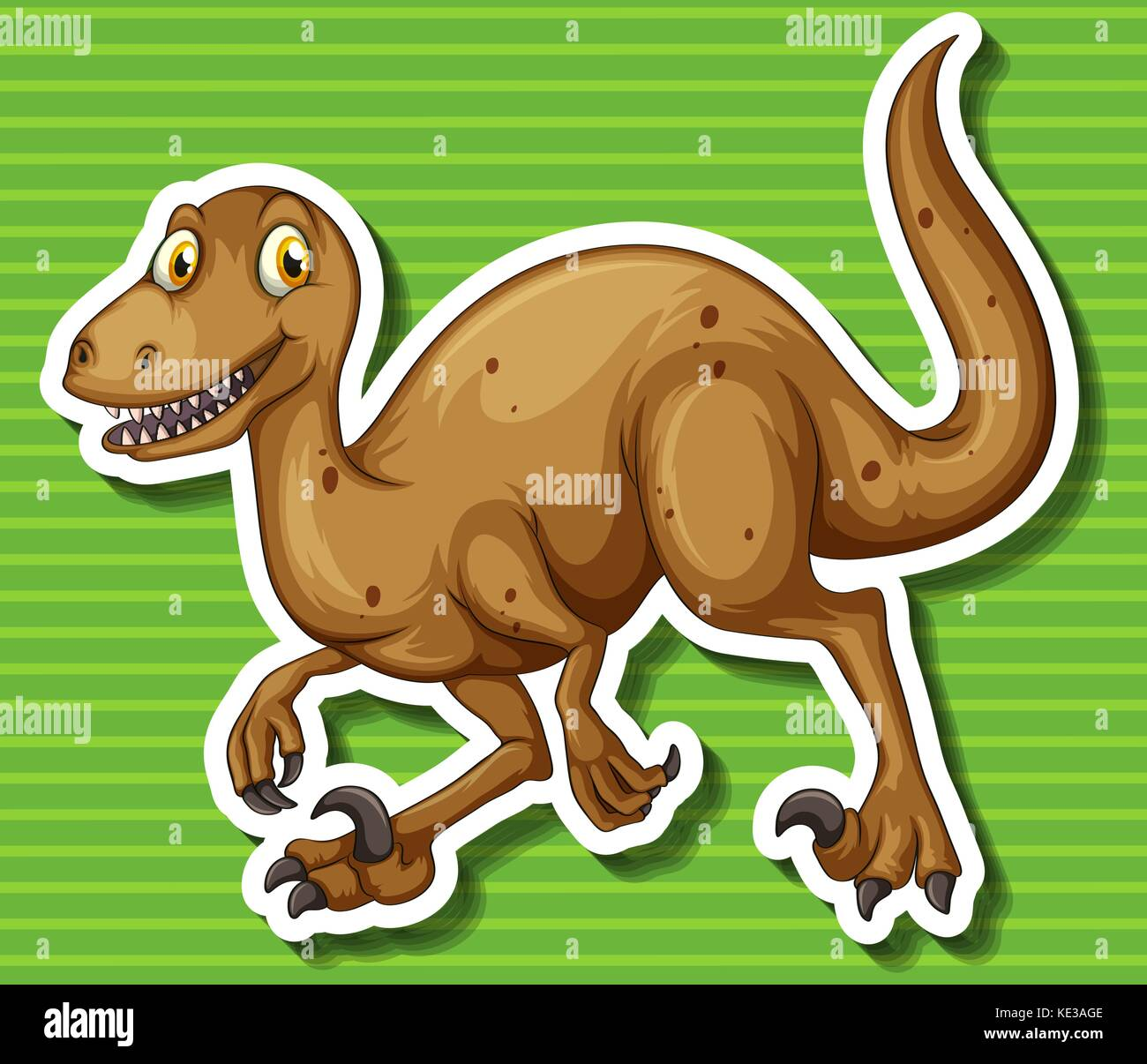 Brown dinosaur with sharp claws illustration Stock Vector