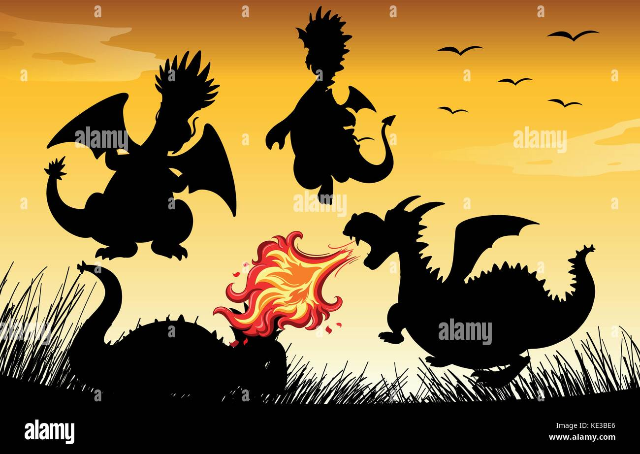 Silhouette dragon blowing fire illustration - Stock Vector