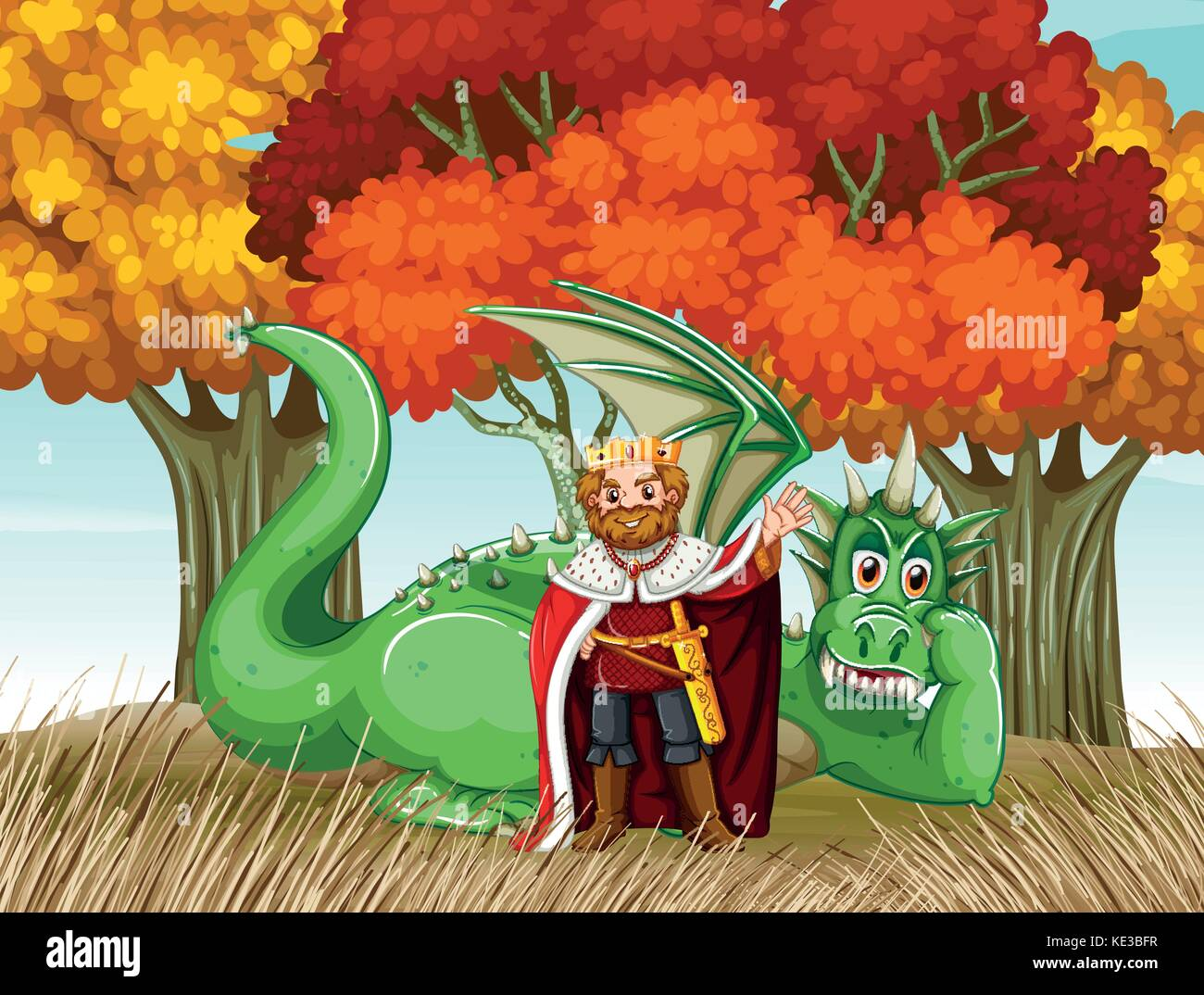 King and dragon in the field illustration - Stock Image