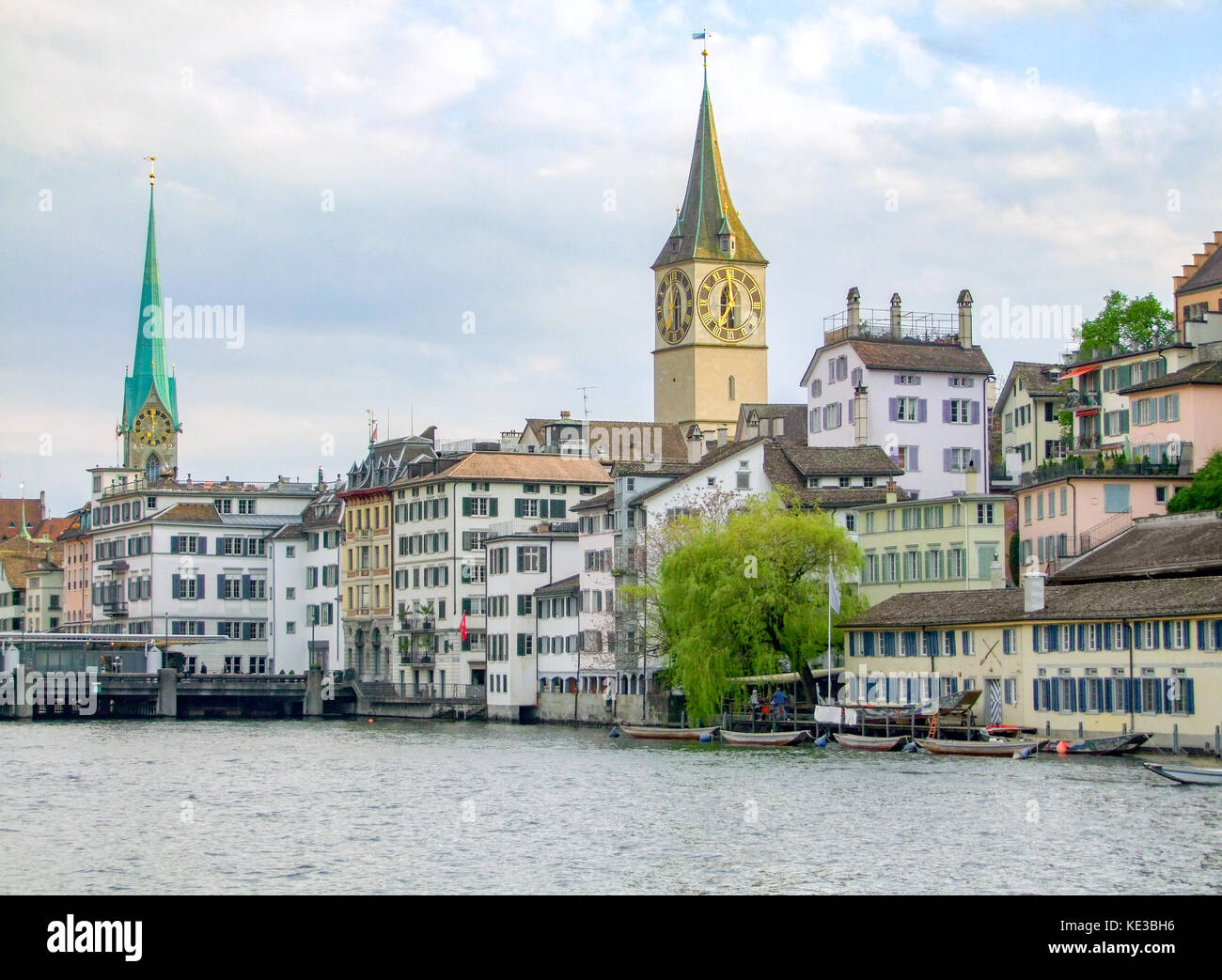 riparian scenery of Zurich, the largest city in Switzerland - Stock Image