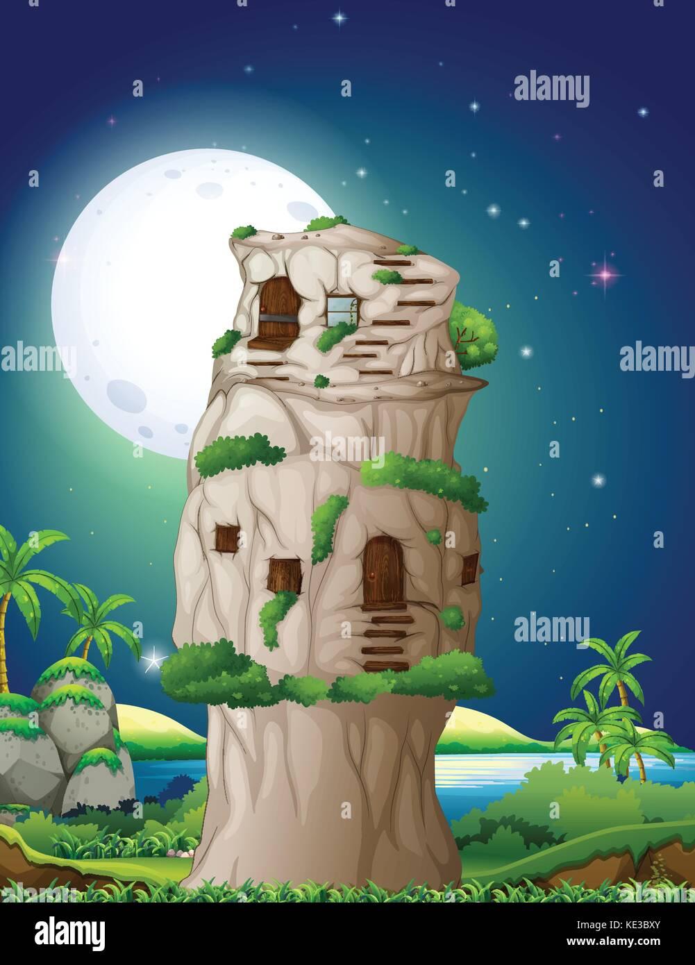 Stone house in fullmoon night illustration - Stock Vector