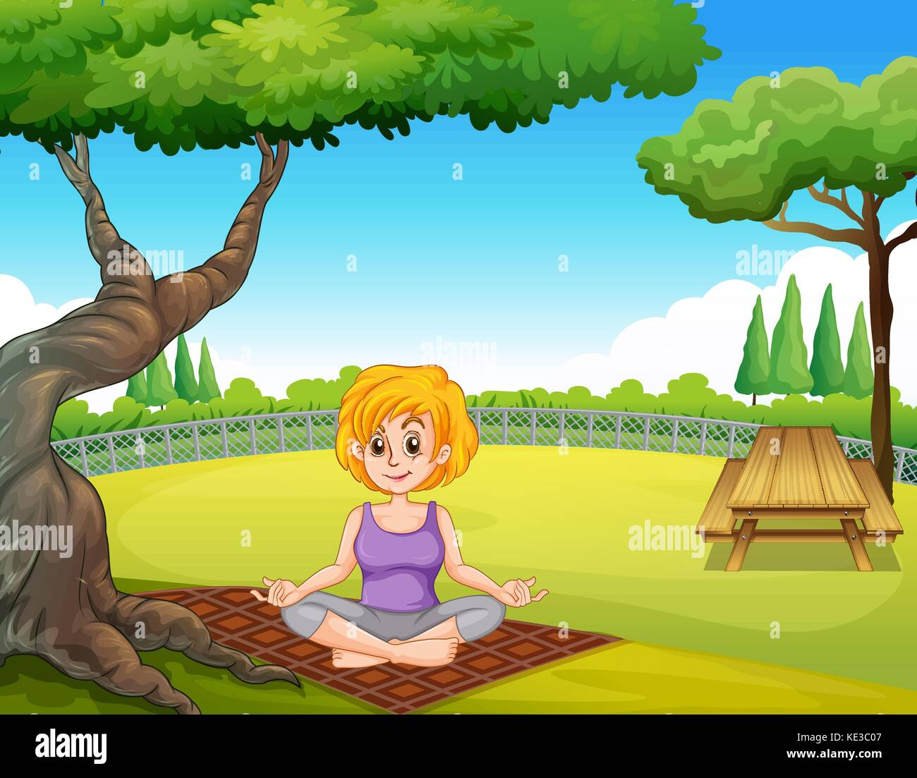 Woman sitting under a tree in a park practicing yoga - Stock Vector