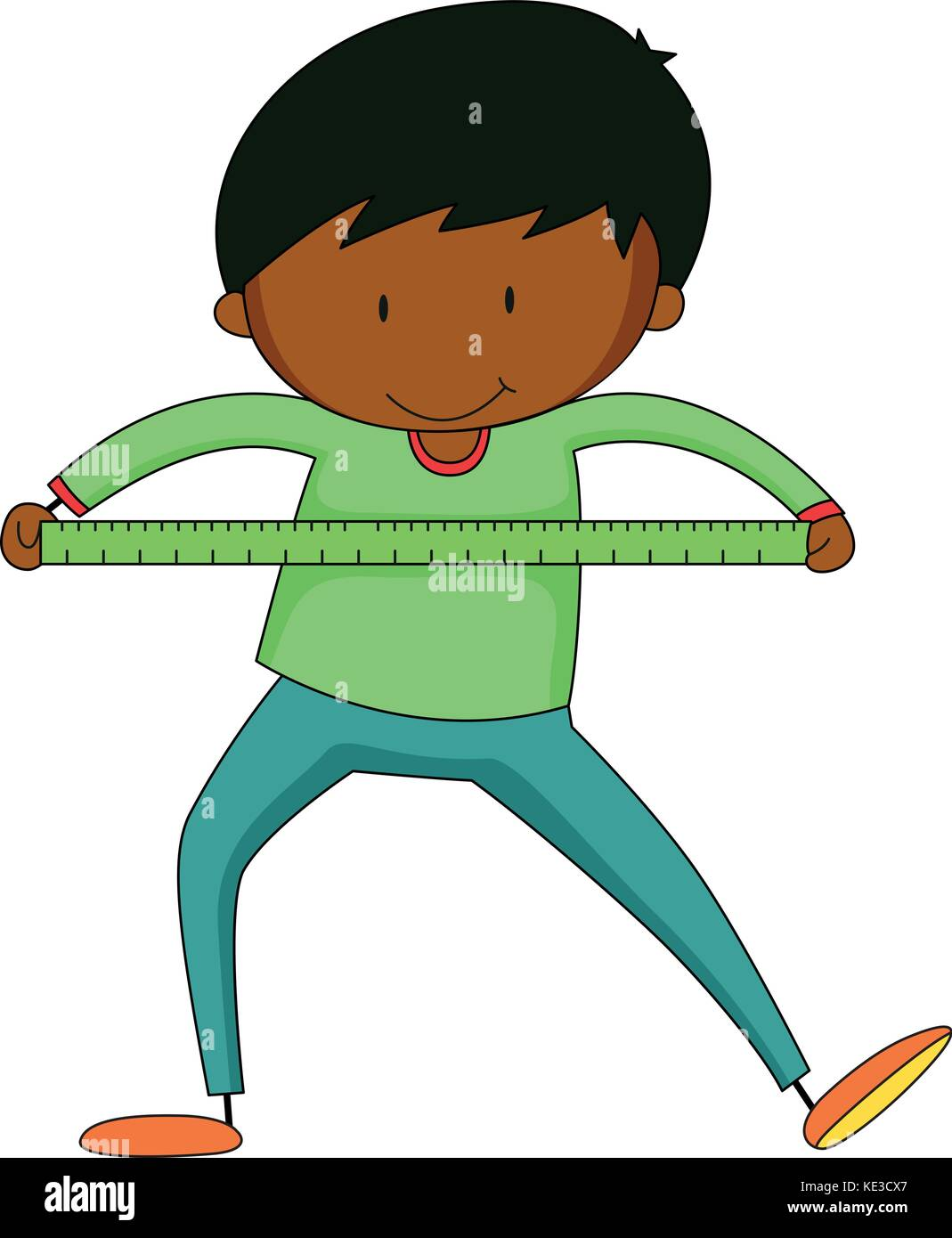 Little boy measuring with ruler illustration - Stock Vector