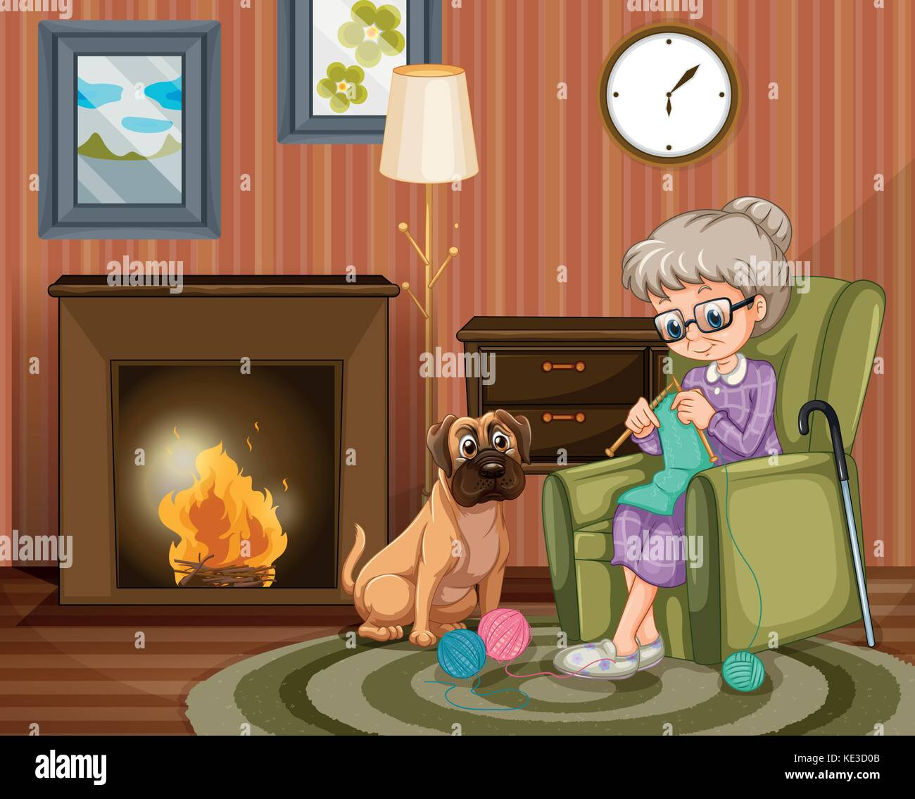 Old woman sitting knitting with dog besides illustration - Stock Vector