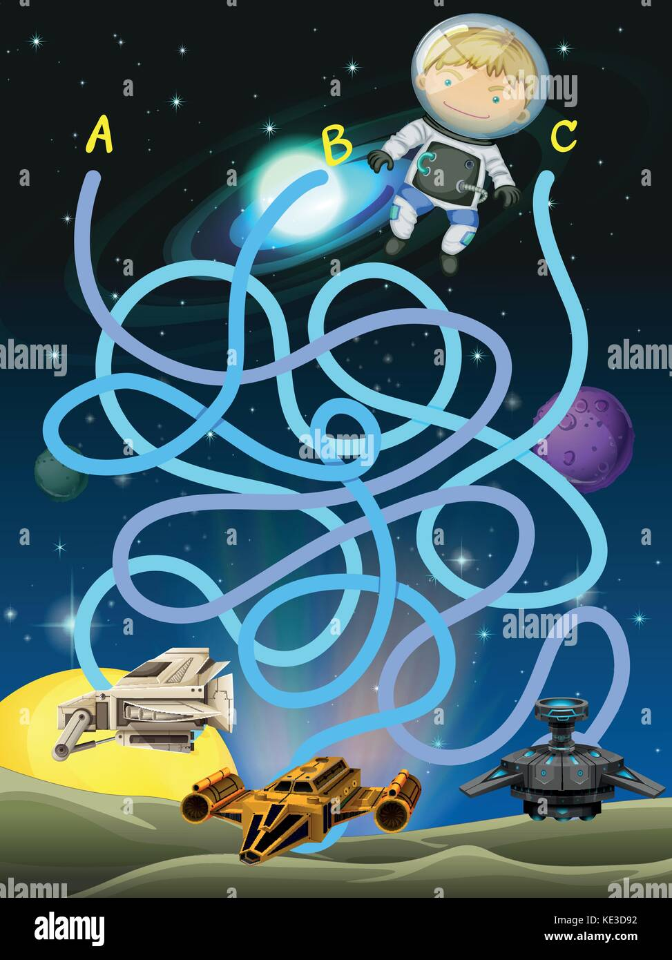 Game template with astronaut in space illustration Stock Vector