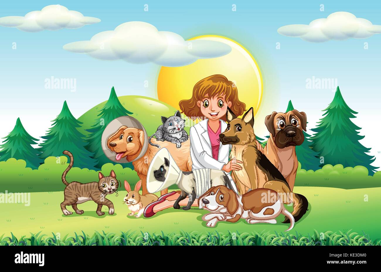 Female vet and many animals illustration - Stock Vector