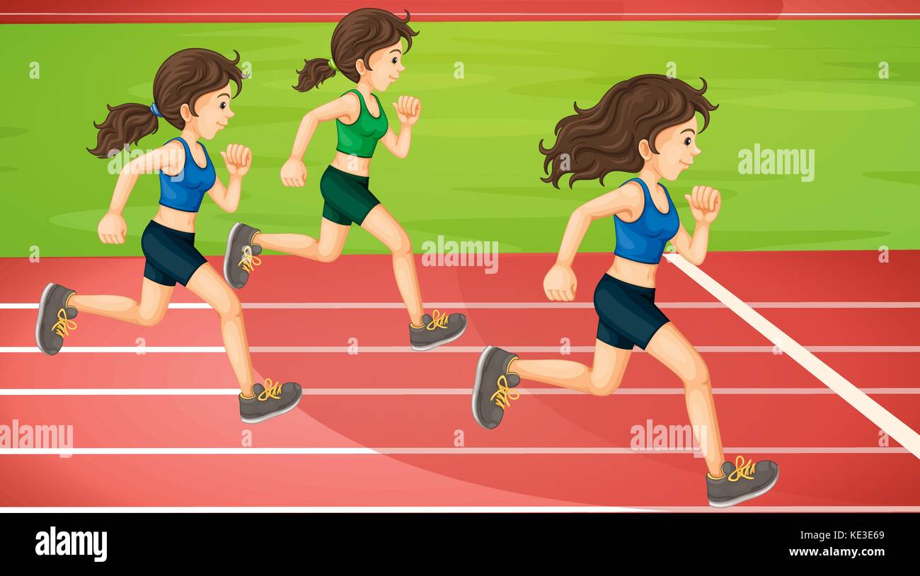 Three women running in the track illustration Stock Vector