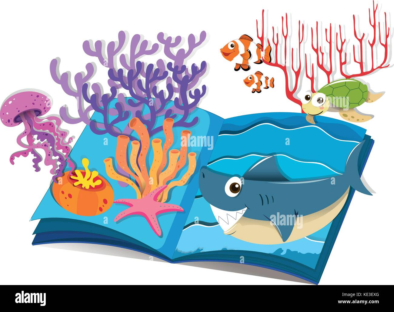 Book of underwater and sea animals illustration - Stock Image